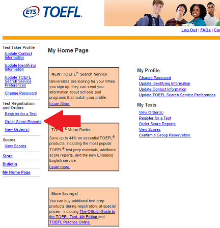 how to change where my results are sent on toefl