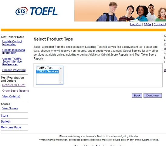 how to cancel toefl order