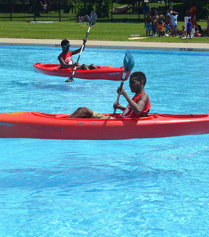 Boating in a pool is totally possible. These guys get it. Baltimore RecNParks/Flickr.