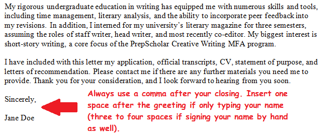 Cover letter grad school admission