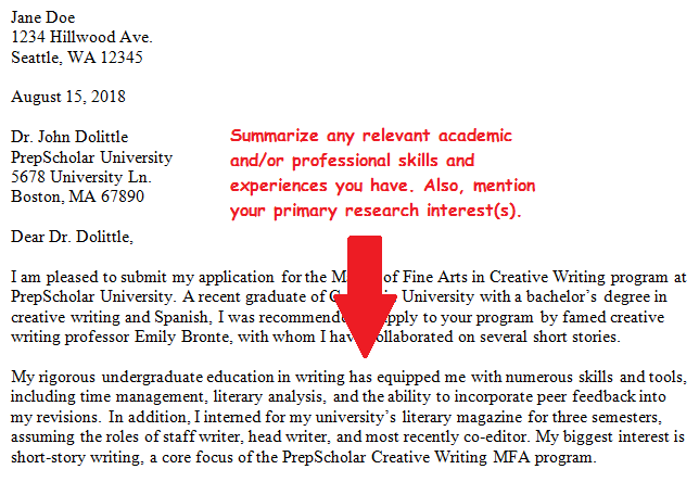 cover letter for graduate program