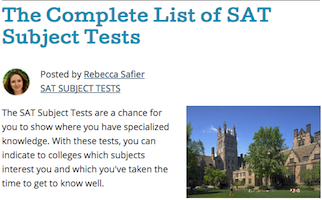 Complete List of SAT Subject Tests