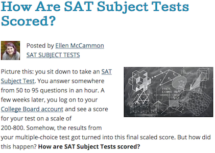Excerpt How Are SAT Subject Tests Scored?